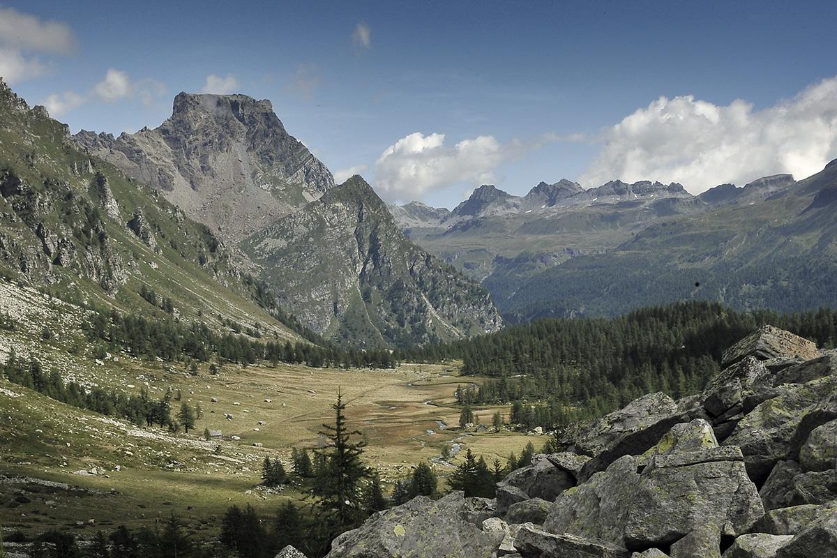 Wanderung Piemont 2014, 24. - 30. August, Blick von der Alpe Buscagna zum Passo della  Rossa (Geisspfad) © Alison Pouliot